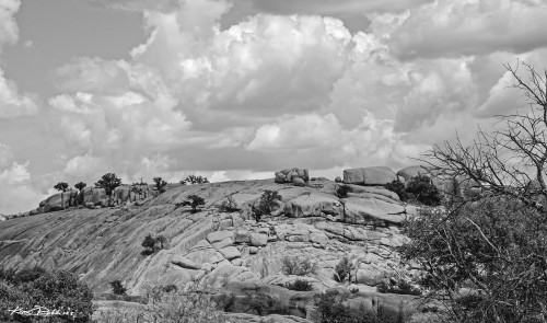 Hill Country Clouds Black and White
