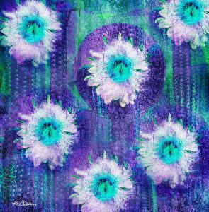 Cactus Blooms in Turquoise & Purple